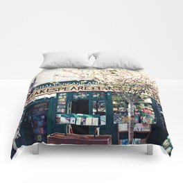Cherry blossoms in Paris, Shakespeare & Co. Comforters