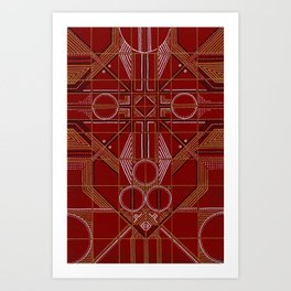 Hand Drawn Art Deco Pattern Design in Red and Gold Art Print