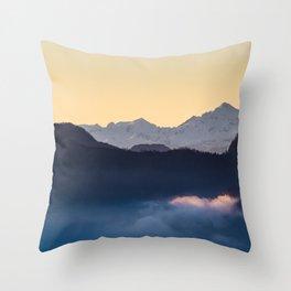 Triglav mountain at sunset Throw Pillow