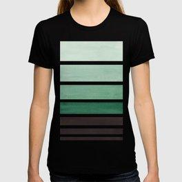Deep Green Minimalist Watercolor Mid Century Staggered Stripes Rothko Color Block Geometric Art T-shirt