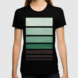Deep Green Minimalist Watercolor Mid Century Staggered Stripes Rothko Color Block Geometric Art T-shirt
