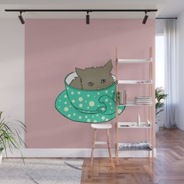 Fluffy Kitten In A Teacup Pink Background Wall Mural