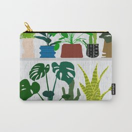 Plants on the Shelf in Gray + White Wood Carry-All Pouch