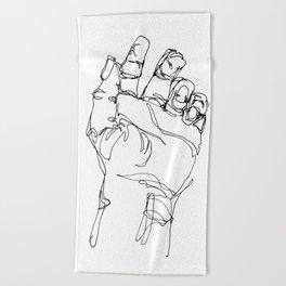 Ink doodle hand #2 Beach Towel