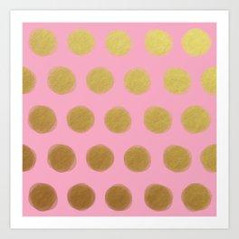 painted polka dots - pink and gold Art Print