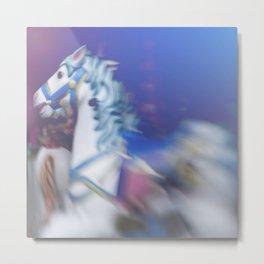 Carousel in the amusement park Metal Print