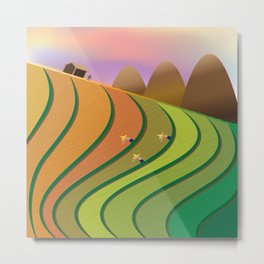 Terrace Fields Metal Print