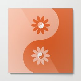 Yin Yang Flower in Orange & Peach Metal Print