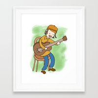 neutral milk hotel Framed Art Prints featuring Jeff Mangum of Neutral Milk Hotel by Missy Kulik