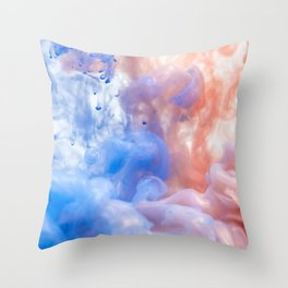 Pink & Blue Abstract Smoke Throw Pillow