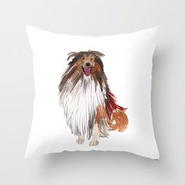 watercolor dog vol1 collie Throw Pillow