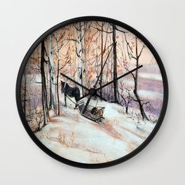 Sledging in the winter forest Wall Clock