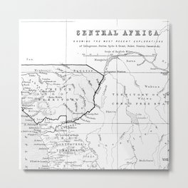 Black And White Vintage Map Of Africa Metal Print