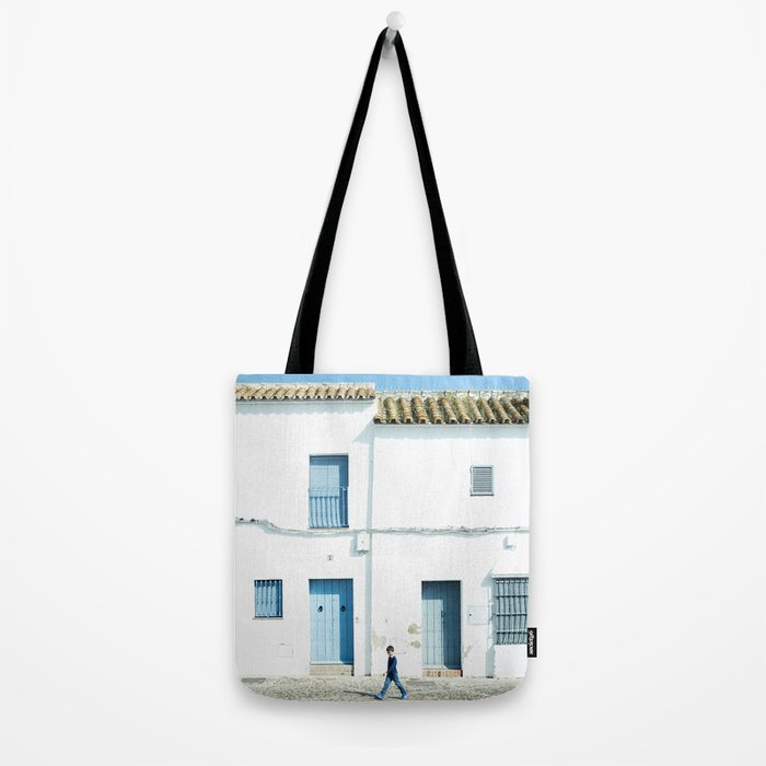 White and blue town Tote Bag