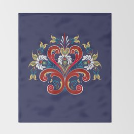Scandinavian Rosemaling II Throw Blanket