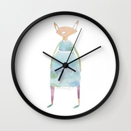 Girl Fox Friend in Dress Wall Clock