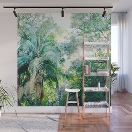 Lost in the jungle bright green tropical palm tree forest photography Wall Mural