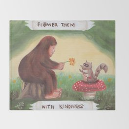 Flower Them With Kindness - Baby Bigfoot Throw Blanket