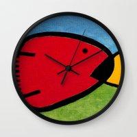 1975 Wall Clocks featuring La pesca de un Miró by Fernando Vieira