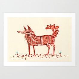 Aztec Fox Art Print