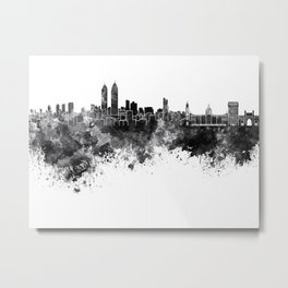 Mumbai skyline in black watercolor background Metal Print