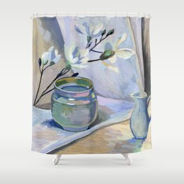 Flowers and vase Shower Curtain
