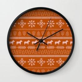 Scandinavian Christmas in Orange Wall Clock