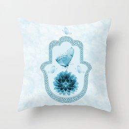 Butterfly Lotus Blue Hamsa Hand Throw Pillow