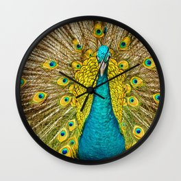 The plumage of the peacock Wall Clock