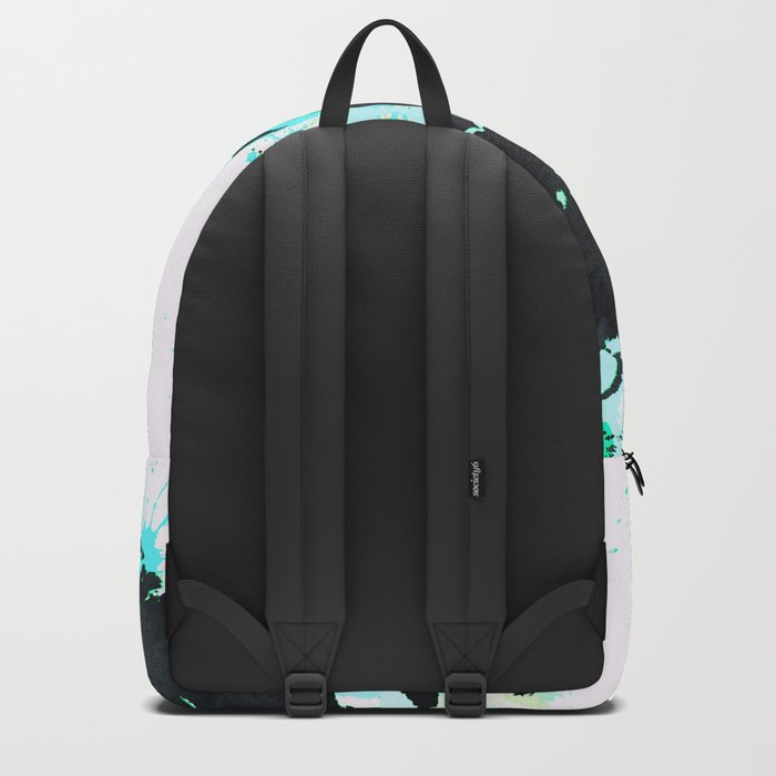 World Map Turquoise Paint and Black Ink Backpack