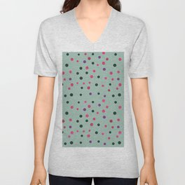 Neon pink black purple polka dots pattern Unisex V-Neck