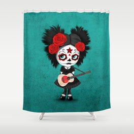 Day of the Dead Girl Playing Japanese Flag Guitar Shower Curtain