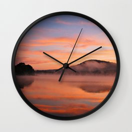 Crimson Dawn on Lake George Wall Clock
