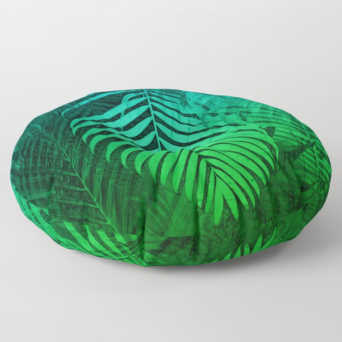 TROPICAL GREEN BLUE LEAVES Floor Pillow