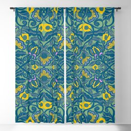 Blue Vines and Folk Art Flowers Pattern Blackout Curtain