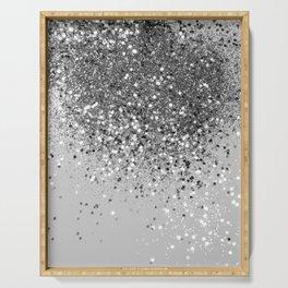 Soft Silver Gray Glitter #1 (Faux Glitter - Photography) #shiny #decor #art #society6 Serving Tray