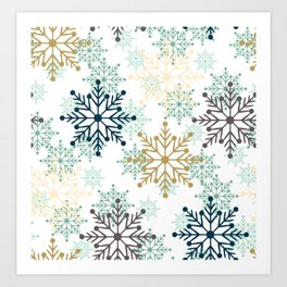 Christmas pattern with snowflakes. Art Print