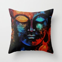 Lord Buddha Abstract Art Throw Pillow
