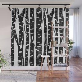 Woodcut Birches Black Wall Mural