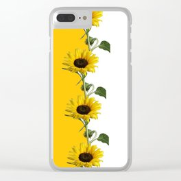 VERTICULAR YELLOW SUNFLOWERS WHITE ART Clear iPhone Case