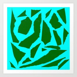 Collage green blue Art Print