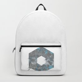 Hexagonal Grey and Blue Marble Backpack