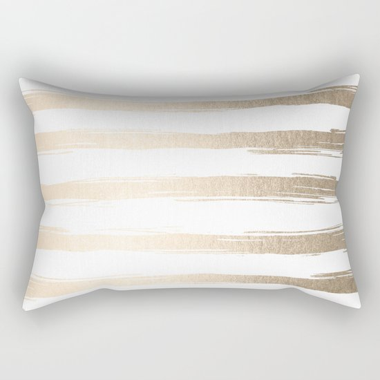 Simply Brushed Stripes White Gold Sands on White Rectangular Pillow