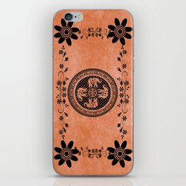 Indian Elephant Floral Hippie Bohemian Design On Orange iPhone Skin