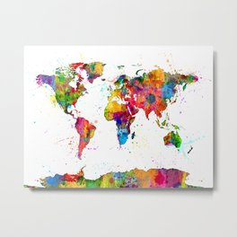 Map of the World Map Watercolor Metal Print