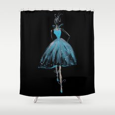 Blue and Light Haute Couture Fashion Illustration Shower Curtain