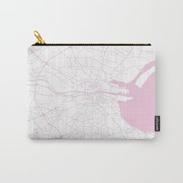 White on Pink Dublin Street Map Carry-All Pouch