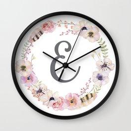 Floral Wreath - E Wall Clock
