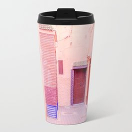 Colorful Pink Hued Street in Medina Marrakech Morocco Travel Mug
