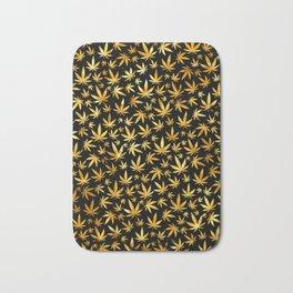 Black Gold Weed Pattern Bath Mat